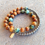 Bracelets - Healing And Change, Sandalwood And African Turquoise 27 Beads Unisex Mala Bracelet
