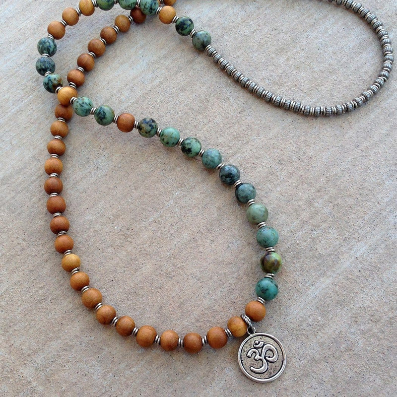 Bracelets - Healing And Change, Sandalwood And African Turquoise 54 Beads Mala Bracelet Or Necklace