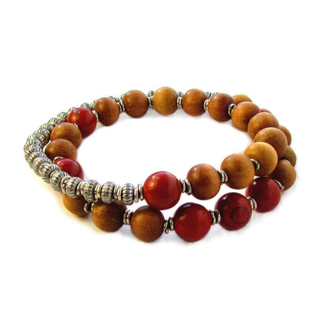 Healing and Grounding, Sandalwood and Red Jasper 27 beads unisex mala bracelet™