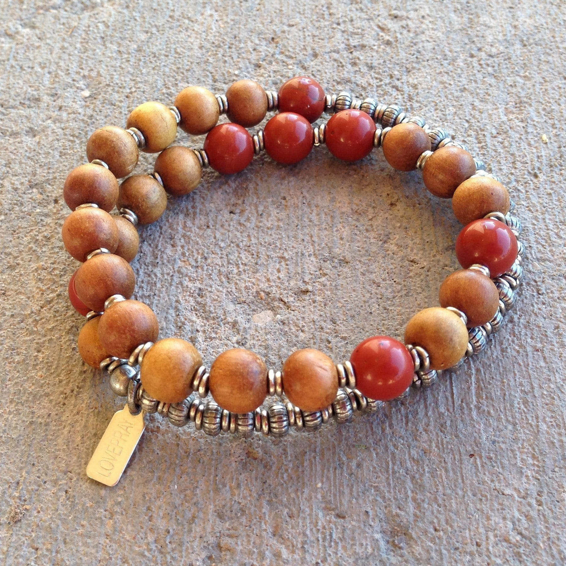 Bracelets - Healing And Grounding, Sandalwood And Red Jasper 27 Beads Unisex Mala Bracelet™