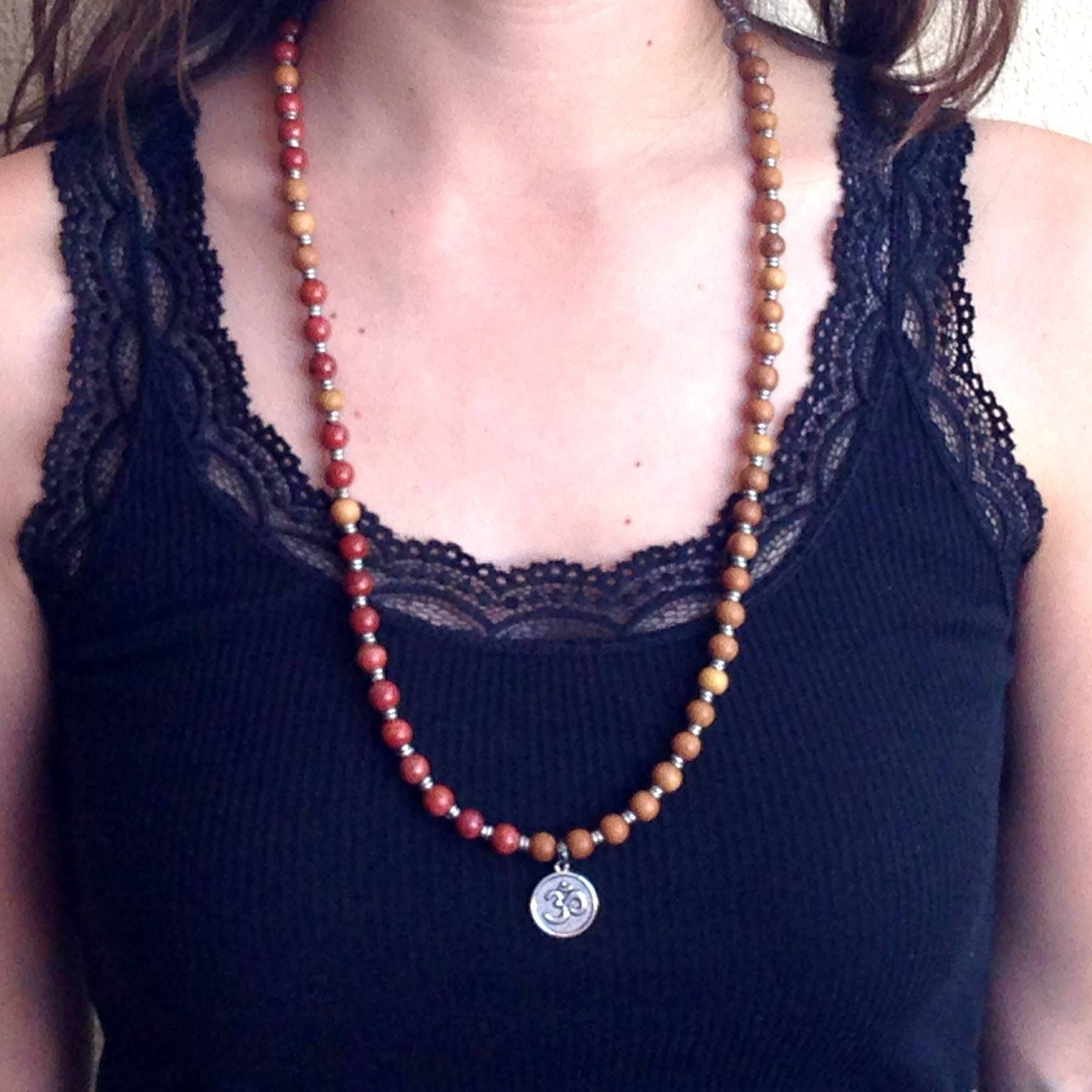 Bracelets - Healing And Grounding, Sandalwood And Red Jasper 54 Bead Mala Necklace Or Bracelet