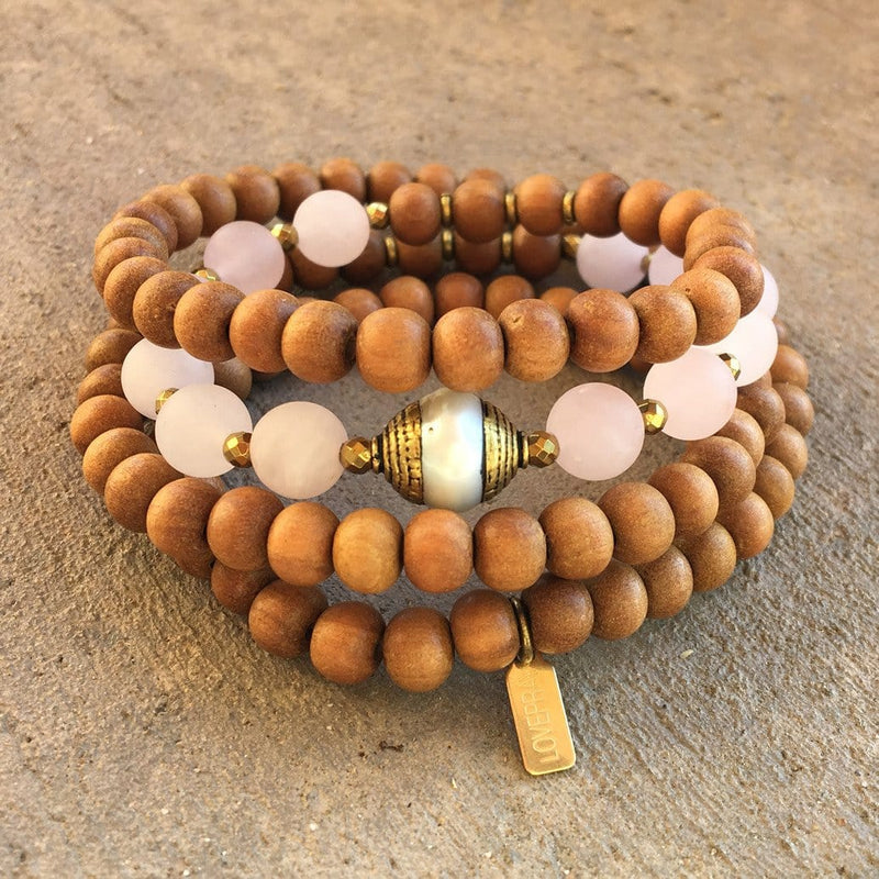Bracelets - Healing And Love, Sandalwood And Matte Rose Quartz 108 Bead Mala With A Tibetan Pearl Guru Bead