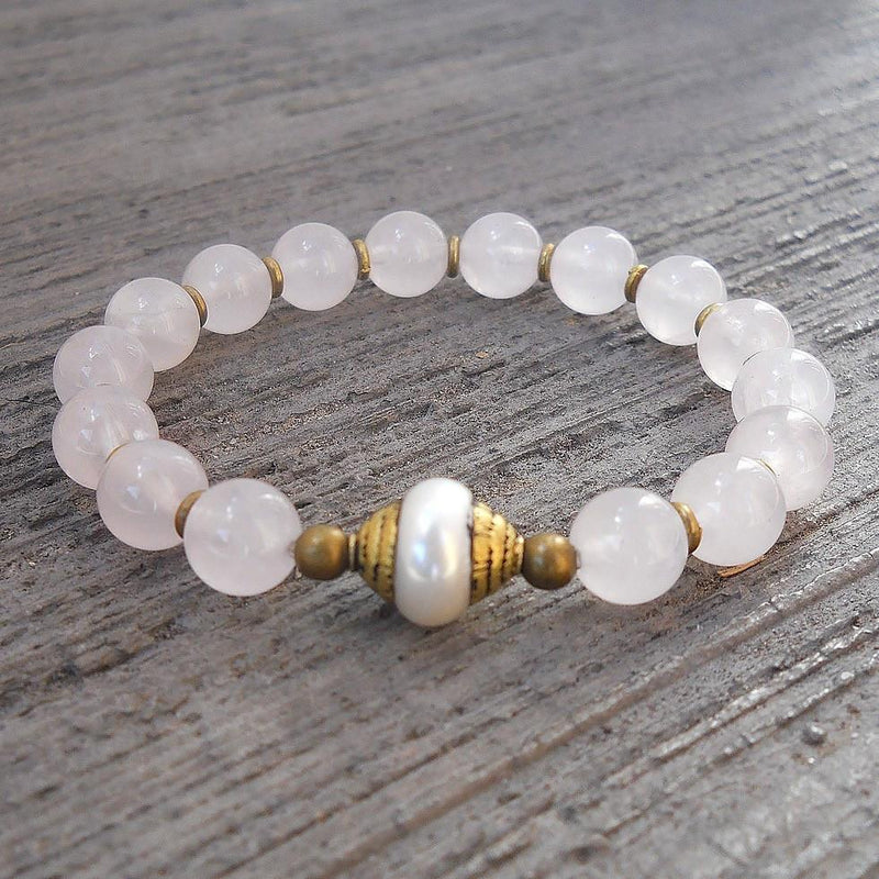 Bracelets - Healing And Purity, Genuine Rose Quartz And Tibetan Capped Pearl Guru Bead