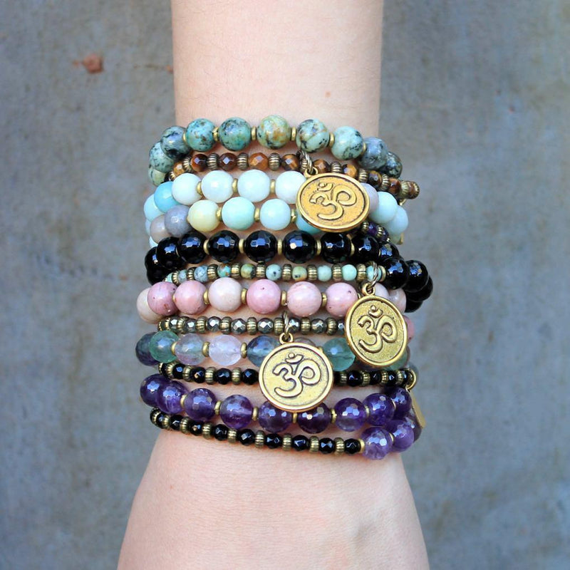 Bracelets - Healing And Soothing, Amethyst And Onyx 27 Bead Wrap Mala Bracelet