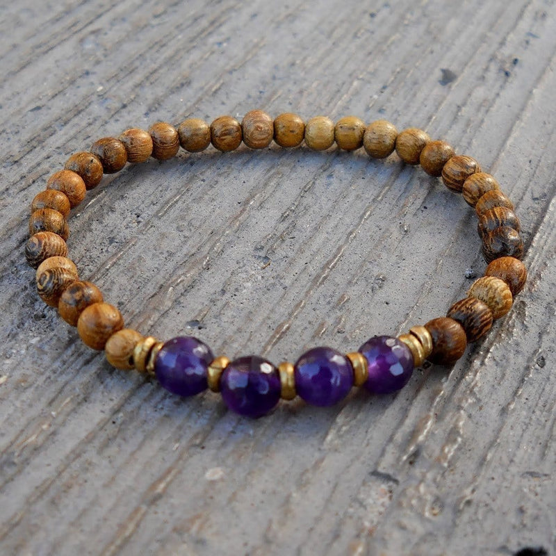 Bracelets - Healing, Genuine Amethyst And Wood Bracelet