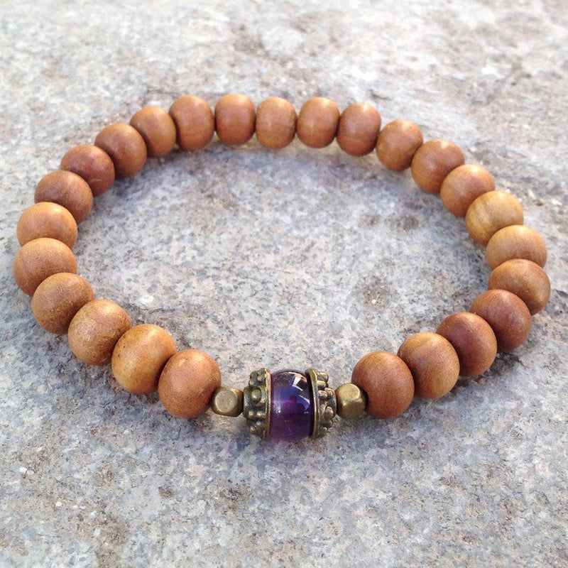 Bracelets - Healing, Genuine Amethyst Gemstone And Sandalwood Mala Bracelet