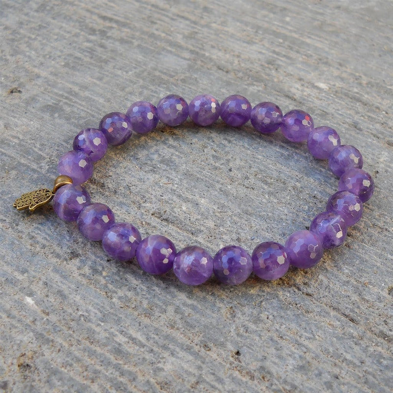 Bracelets - Healing - Genuine Faceted Amethyst Gemstone Yoga Mala Bracelet