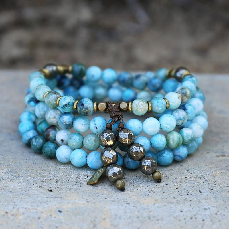 Bracelets - Hemimorphite Mala Beads, Wrap 108 Bead Mala Bracelet Or Necklace