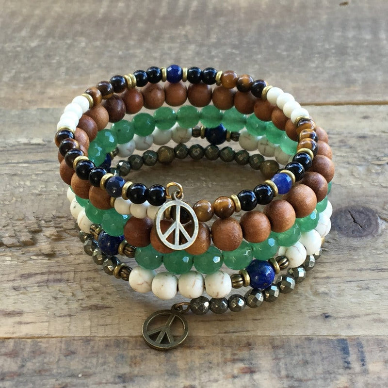 "Bracelets - Howlite And Aventurine, ""Calm And Balance"" Boho Chic Multilayer Bangle"