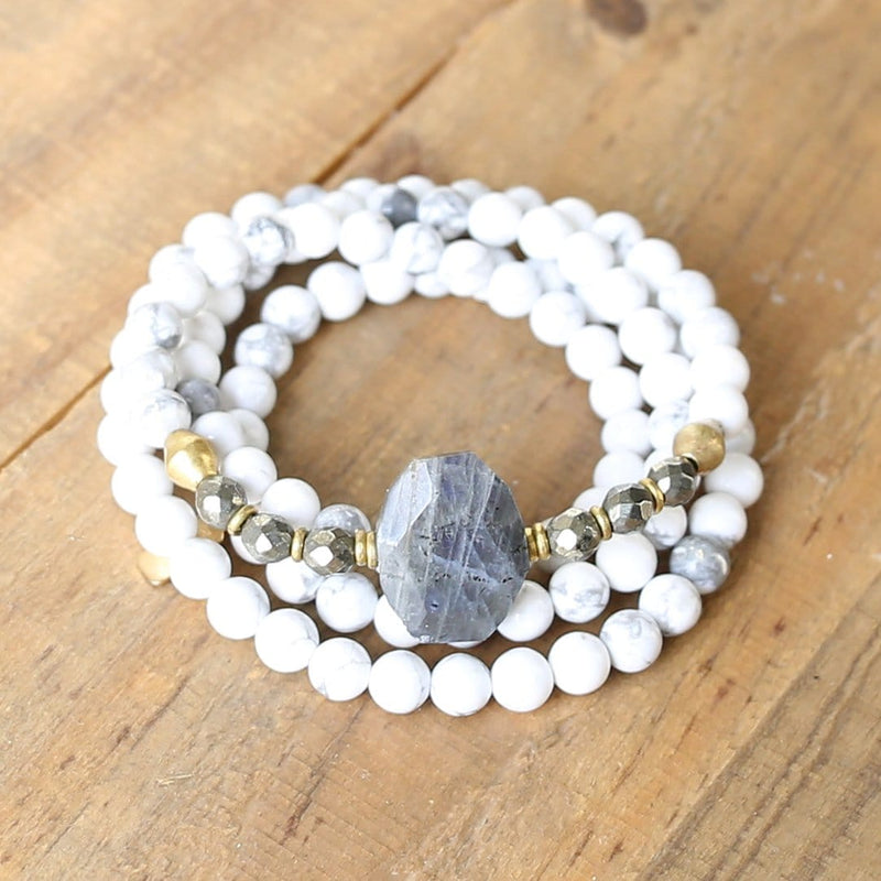 Bracelets - Howlite And Pyrite Gemstone Mala Bracelet