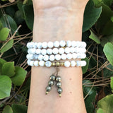 Bracelets - Howlite Mala Beads, Wrap 108 Bead Mala Bracelet Or Necklace