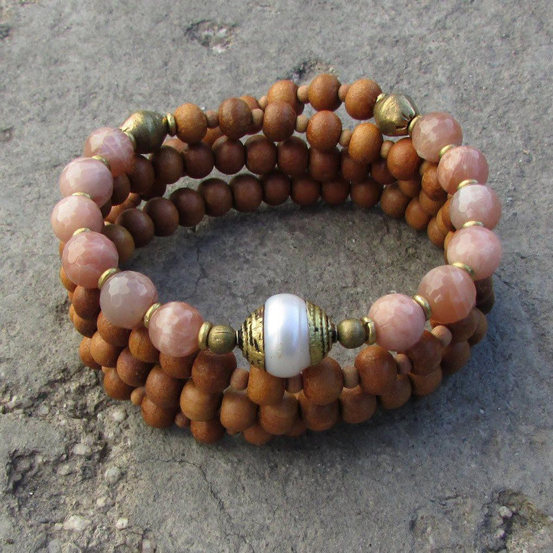 Bracelets - Independence And Joy, Sandalwood And Sunstone 108 Bead Mala With A Tibetan Pearl Guru Bead