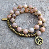 Bracelets - Independence And Joy, Sunstone 27 Bead Mala Wrap Bracelet