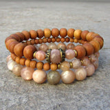 Bracelets - Independence And Joy, Sunstone And Sandalwood Mala Bracelet Stack