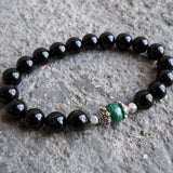 Bracelets - Intuition And Patience, Genuine Malachite And Onyx Mala Bracelet