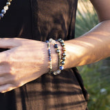 "Bracelets - ""Intuition And Strength"" Pyrite, Sodalite And Quartz Crystal Mala Bracelet"