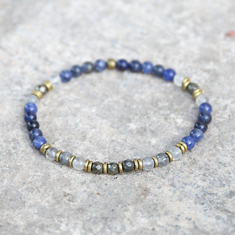 "Bracelets - ""Intuition And Strength"" Sodalite And Quartz Crystal Delicate Gemstone Bracelet"