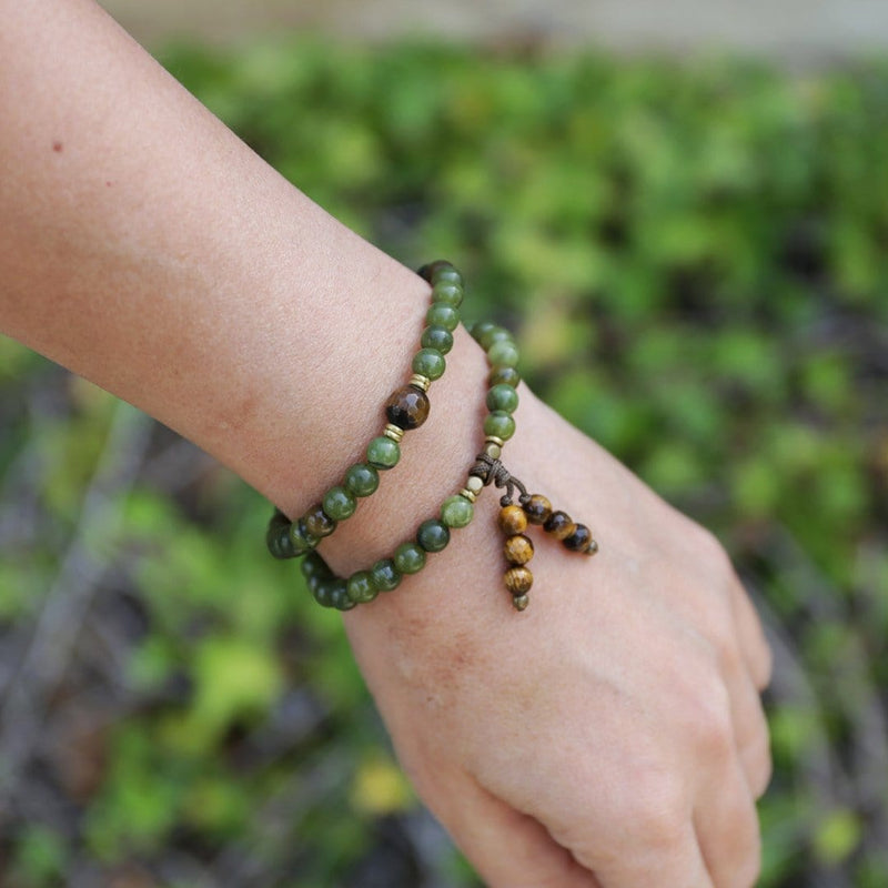 Bracelets - Jade And Tigers Eye 54 Bead Mala Bracelet