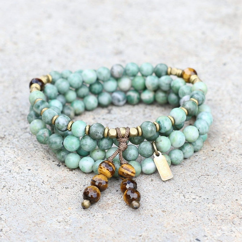 Bracelets - Jade Mala Beads, Wrap 108 Bead Mala Bracelet Or Necklace