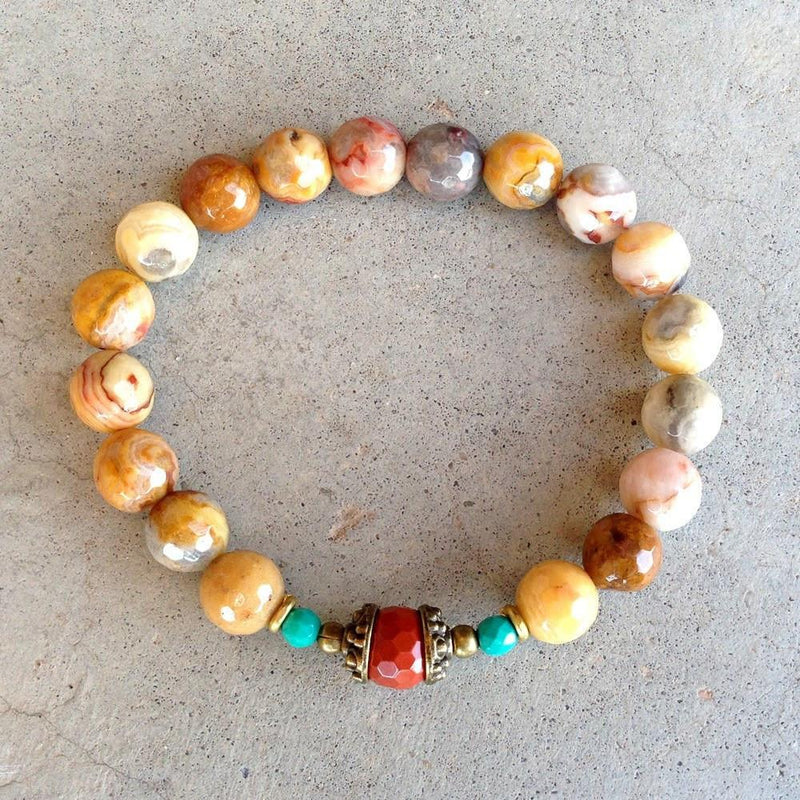 Bracelets - Joy And Grounding, Crazy Lace Agate And Red Jasper Bracelet