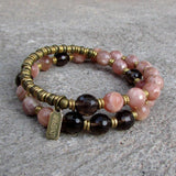 Bracelets - Joy And Positivity, Genuine Faceted Sunstone And Smokey Quartz 27 Bead Wrap Mala Bracelet