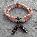 Bracelets - Joy And Positivity, Genuine Faceted Sunstone And Smokey Quartz 54 Bead Wrap Mala Bracelet
