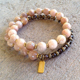 Bracelets - Joy And Positivity, Genuine Faceted Sunstone And Smoky Quartz 27 Bead Wrap Mala Bracelet