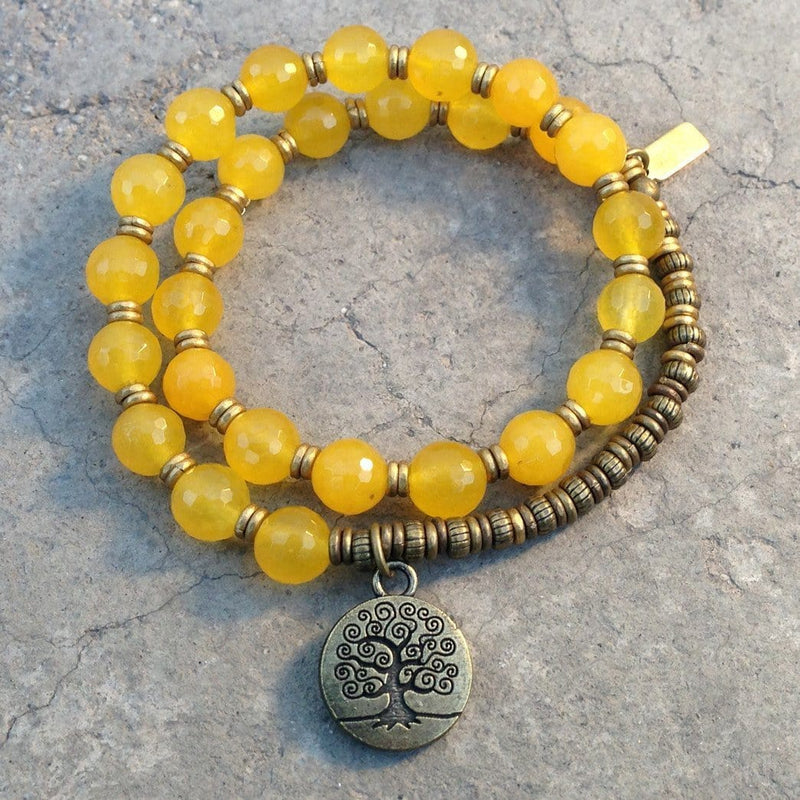 Bracelets - Joy, Faceted Yellow Jade 27 Bead Wrap Mala Bracelet, With Tree Of Life Charm