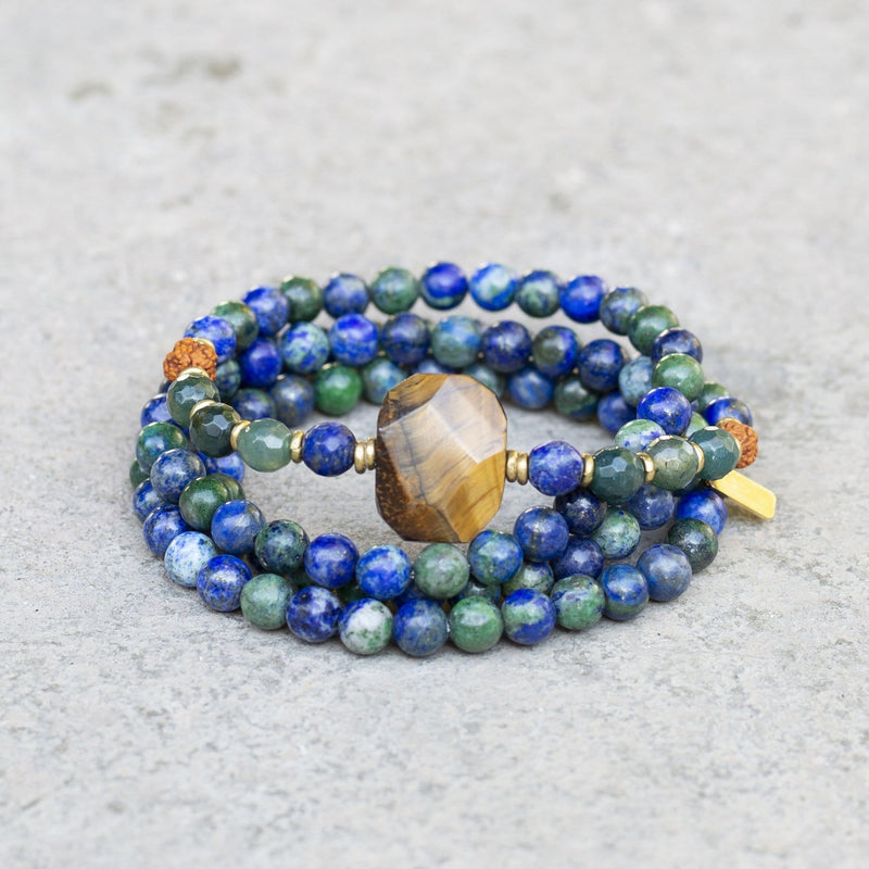 Lapis Lazuli And Tiger's Eye 108 Bead Mala Bracelet