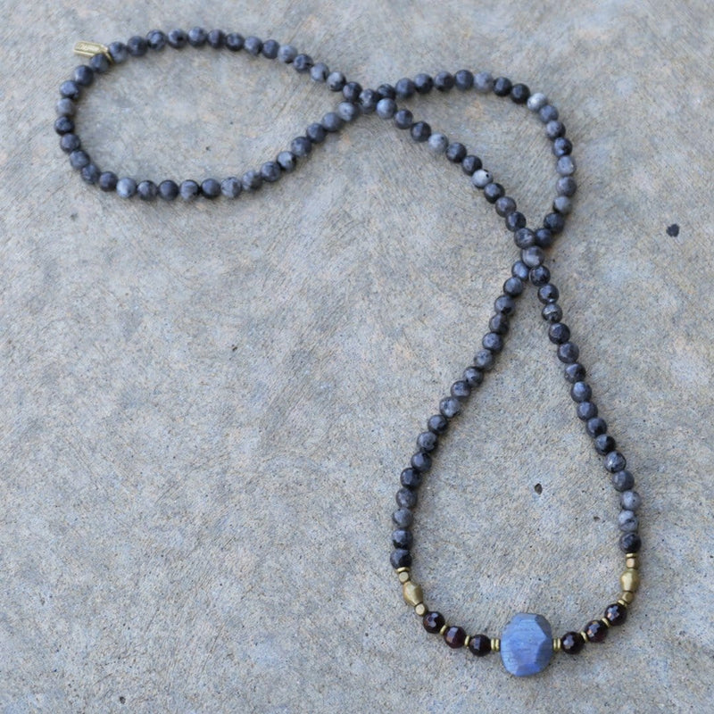 Bracelets - Larvikite And Garnet Mala Necklace Or Bracelet