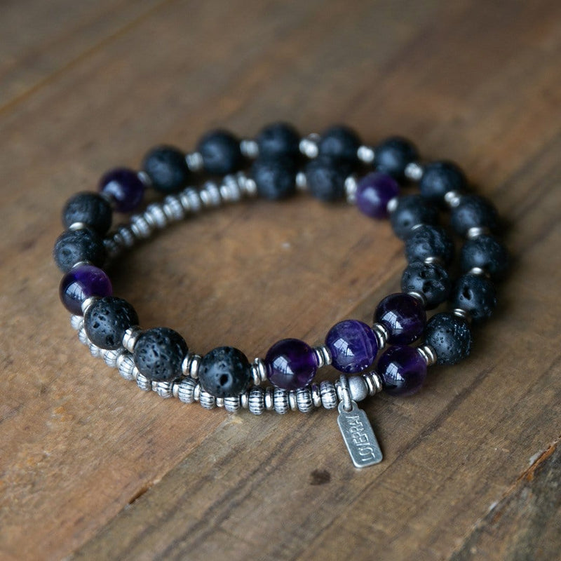 Bracelets - Lava Rock And Amethyst Men's Wrap Bracelet, Crown Chakra Bracelet