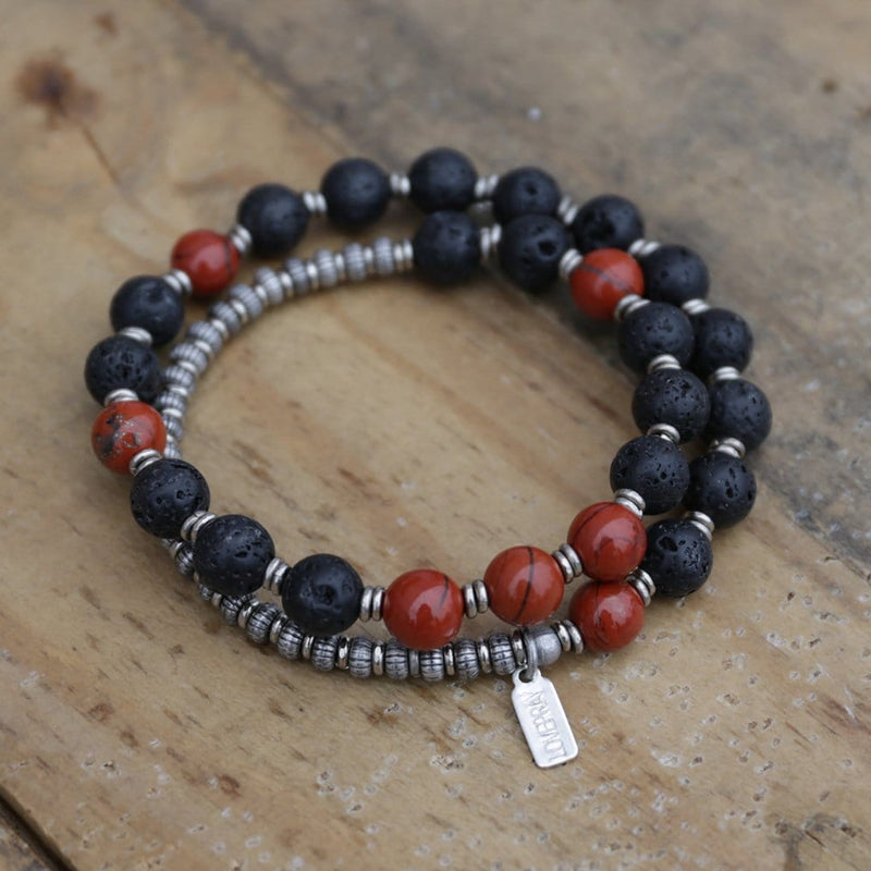 Bracelets - Lava Rock And Red Jasper Men's Wrap Bracelet, Root Chakra Bracelet