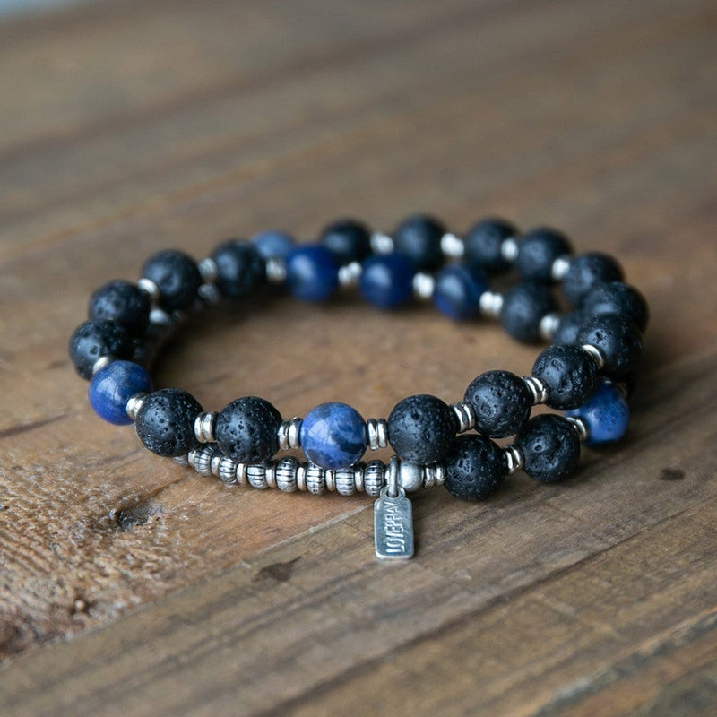 Bracelets - Lava Rock And Sodalite Men's Wrap Bracelet, Third Eye Chakra Bracelet