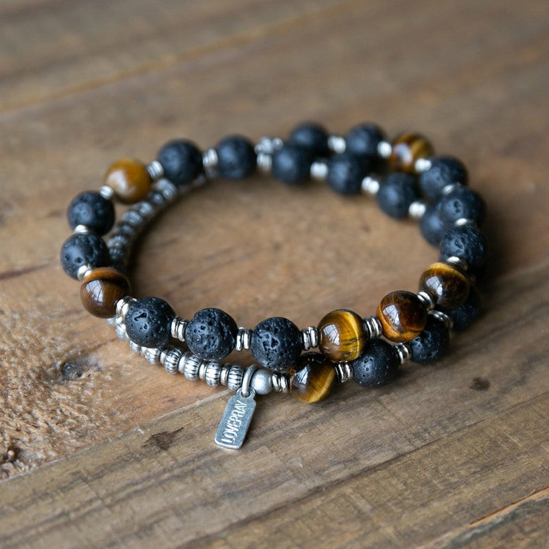 Red Agate and Tigers Eye Lava Rock Bracelet