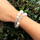 Bracelets - Love And Abundance, Moonstone And Cloudy Quartz 27 Bead Wrist Mala Bracelet