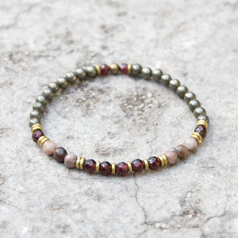 "Bracelets - ""Love And Confidence"" Garnet And Pyrite Delicate Gemstone Bracelet"