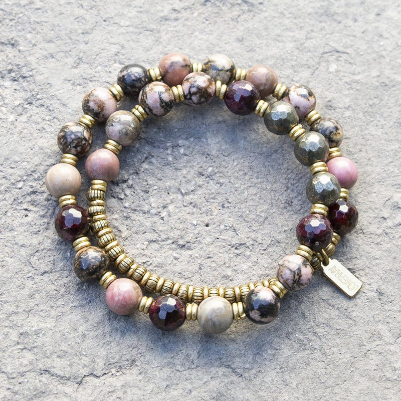 "Bracelets - ""Love And Confidence"" Rhodonite Pyrite And Garnet Mala Bracelet"