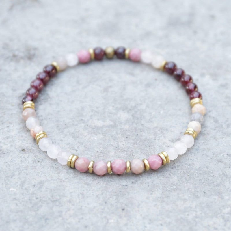 "Bracelets - ""Love And Creativity"" Garnet And Rose Quartz Delicate Bracelet"
