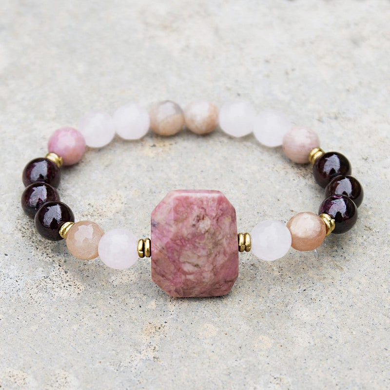 "Bracelets - ""Love And Creativity"" Garnet And Rose Quartz Gemstone Bracelet"