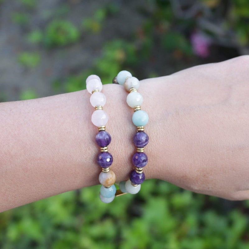 Bracelets - 'Love And Healing' Rose Quartz And Amethyst Mala Bracelet