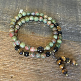 "Bracelets - ""Love And Positivity"" Unakite And Smoky Quartz 54 Bead Mala Wrap Bracelet"