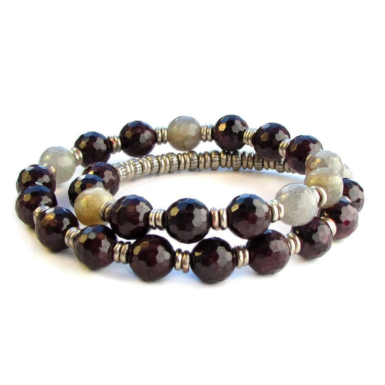 Bracelets - Love and Serendipity, Genuine Garnet and Labradorite 27 Bead Wrap Mala Bracelet