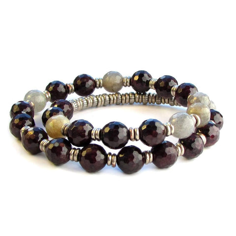 Love and Serendipity, Genuine Garnet and Labradorite 27 bead wrap mala bracelet™