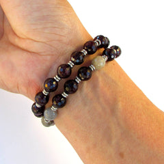 Bracelets - Love And Serendipity, Genuine Garnet And Labradorite 27 Bead Wrap Mala Bracelet™