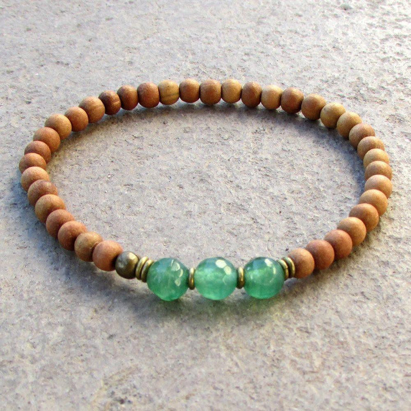 Bracelets - Love, Fourth Chakra, Sandalwood And Aventurine Mala Bracelet