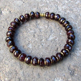 Bracelets - Love, Genuine Faceted Garnet And African Trade Beads Mala Bracelet