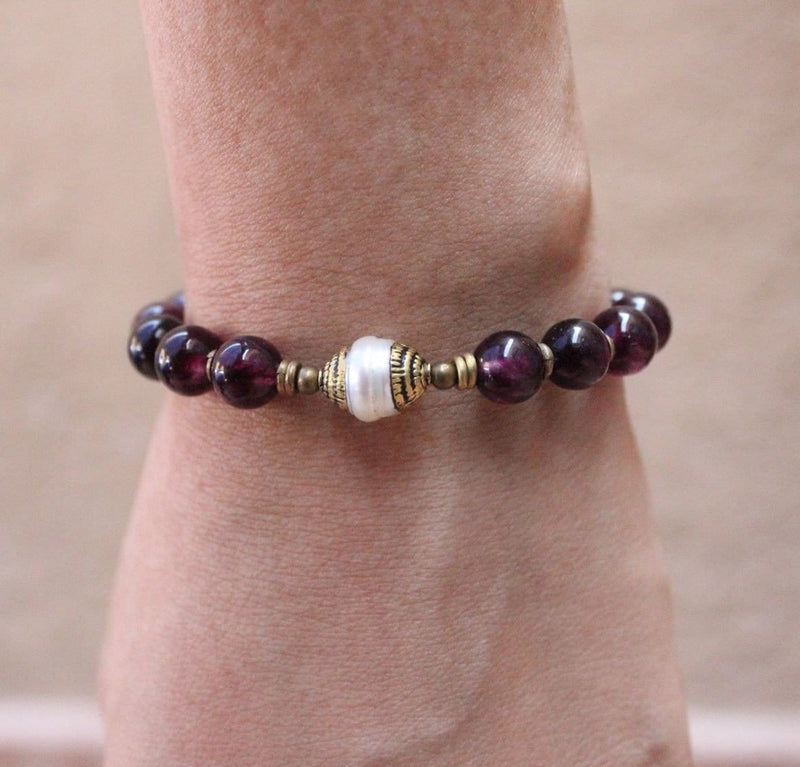 Bracelets - Love, Genuine Garnet Gemstone Mala Bracelet With Tibetan Capped Pearl Guru Bead