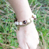 Bracelets - 'Love' Rose Quartz And Garnet Mala Bracelet - Wrist Mala