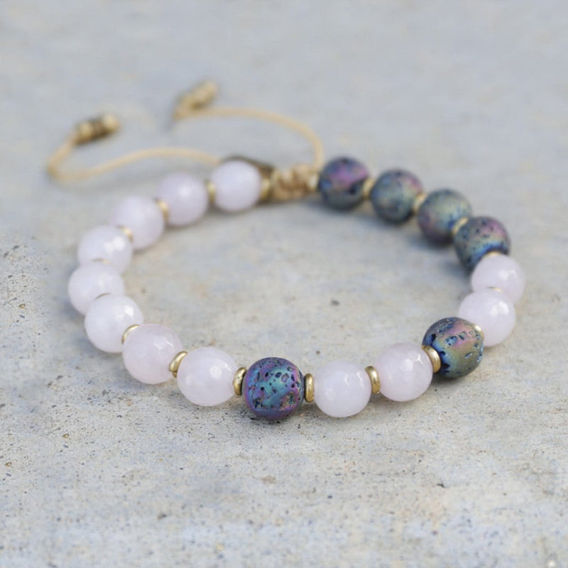 Bracelets - 'Love' Rose Quartz Essential Oil Diffuser Adjustable Bracelet