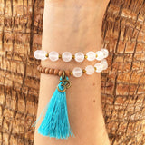 Bracelets - Matte Clear Quartz And Sandalwood, 'Amplification And Healing', 27 Bead Wrist Mala Wrap Bracelet